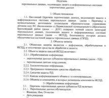 Перечень персональных данных, подлежащих, подлежащих защите в ИСПДН