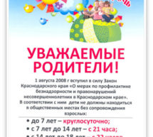 Закон Краснодарского Края №1539-КЗ «О мерах по профилактике безнадзорности и правонарушений несовершеннолетних в Краснодарском крае»